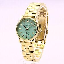 NWT Marc Jacobs Women Watch Gold Bracelet Baker 28MM Minty Green MBM3284 $200