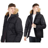 MEN'S BOYS PARKA JACKET FAUX FUR HOOD SHORT PADDED FULLY LINED WINTER WARM TOP