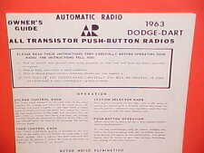 1963 DODGE DART 170 270 GT CONVERTIBLE COUPE AUTOMATIC AM RADIO OWNERS MANUAL 63