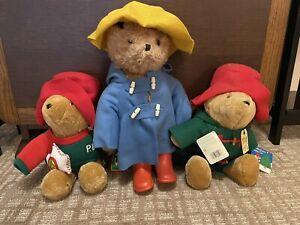 Lot 3 RARE LARGE Vintage 1975 Paddington Bear Plush by Eden Toys Inc.
