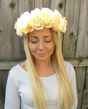 Large Light Yellow Rose Flower Garland Headband Hair Crown Festival Big 1919