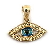 14k Yellow Gold Blue Enamel Diamond Cut Evil Eye Pendant