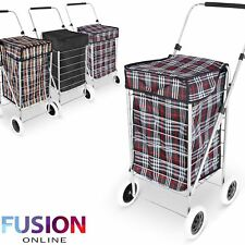 4 WHEEL FOLDING FOLDABLE SHOPPING MOBILITY TROLLEY BAG CART MARKET LAUNDRY