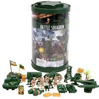 82pc Army Men Toy Soldiers Military Tank Trees Plastic Figurine Play Set + BONUS