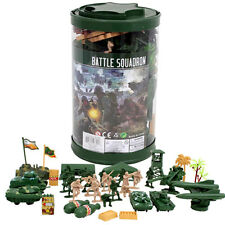 82pc Army Men Toy Soldiers Military Tank Trees Plastic Figurine +100pc XTRA FIGS