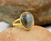 925 Sterling Silver Jewelry  Labradorite  Gemstone Gold Plated Engagement Ring
