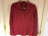 Woman's Eddie Bauer size large red checkered long roll sleeve cotton blouse