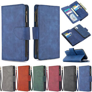 For iPhone SE 2020 12Pro Max 7 8 Plus Removable Leather Zipper Wallet Case Cover