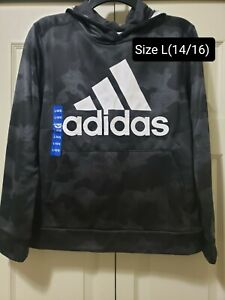 New Adidas Boys Camo Pullover Hooded Size L(14/16) MRSP $40!