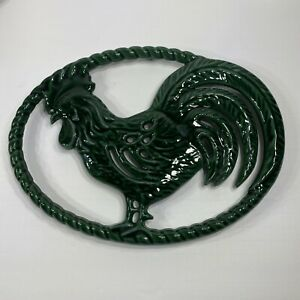Cast Iron Rooster Trivet Green Enamel Cast Iron Embossed Made in France
