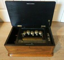 LARGE ANTIQUE SWISS BELLS CYLINDER MUSIC BOX BELLS BIRD'S