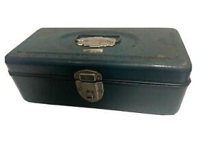 Vintage Blue Green Aqua Metal Union Steel Tackle Box Utility Chest USA Fishing