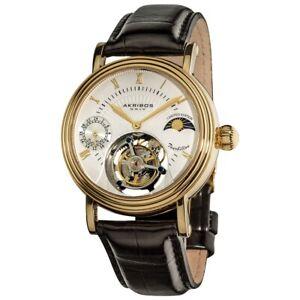 Akribos Genuine Mechanical 42.5 mm Tourbillon Moonphase Sapphire Crystal Watch