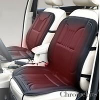 2x UNIVERSAL FRONT CAR SEAT COVERS ELECTRIC BLACK HEATED CUSHIONS 12V PLUG IN