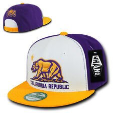 California Republic SNAPBACK Hat vtg 3D CALI BEAR LA Flat Bill Cap lakers