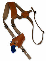 "NEW Barsony Tan Leather Horizontal Gun Shoulder Holster for S&W 2"" Snub Nose"