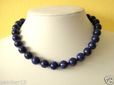 "Blue Lapis Lazuli Necklace 12mm Lapis Beads 16"" necklace Hand Knotted Deep 12 mm"