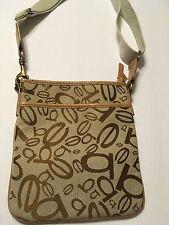 Bebe Cross body Handbag Purse Tan & Gold Adjustable Strap