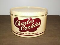 """VINTAGE KITCHEN FOOD 8 1/4"""" ACROSS 5"""" HIGH CHARLES COOKIES TIN CAN *EMPTY*"""