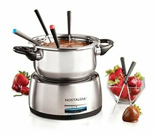 Nostalgia FPS200 6-Cup Stainless Steel Electric Fondue Pot with Temperature C...
