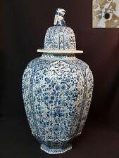 1760 faïence DELFT remarquable grande potiche vase balustre 64cm5kg blanc bleu