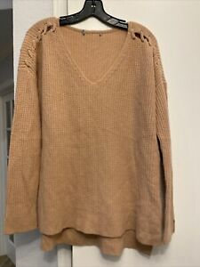 VINCE Pink CASHMERE V-NECK SWEATER MEDIUM