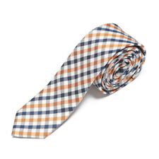 drykorn for beautiful people Plaid Blue Orange White Skinny Men's Silk Neck Tie