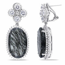 Sterling Silver 28 2/5 Ct TGW Black Rutile and Created White Sapphire Earrings