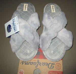 DEARFOAMS~XL (11-12)~Women's Slate Gray Jessica Furry Crossband Slide Slipper