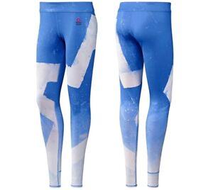 Reebok Crossfit Damen Sport Legging Winter Laufhose Training Hose Gym blau/weiß