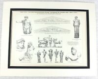 1897 Antique Print Ancient Greek Architectural Temple of Olympia Zeus God Deity