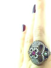 #D792 Ladies Turkish 925 Silver Rings Red Ruby Topaz Handmade Antique Jewelry