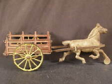 1800s Cast Iron Farm Hay Wagon Horse Drawn Stake Rack Bed Cart Harris Arcade Toy