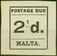 Malta 1925 2 1/2d Black SGD5a 2 of 1/2 Omitted Fine MNH