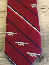 1976 SMITHSONIAN MUSEUM Biplane Prince Consort MEN'S RED STRIPE POLY NECKTIE
