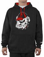 E5 Georgia Bulldogs Mens Black Embroidered Icon Hoodie Sweatshirt