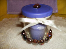 LILAC YANKEE CANDLE & PURPLE GLASS GEM CANDLE HOLDER-JEWELRY-COTTON BALLS/PAD#5