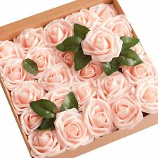 Ling's moment Artificial Flowers Blush Roses 50pcs Real Looking Fake Roses