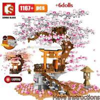 Sembo City Japan Sakura Street View Mini Blocks Building Bricks Shop 6 Figures