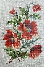Vintage Needlepoint Poppies Framed Shabby Chic Cottage Farmhouse 10.75x13