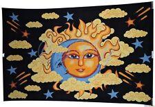Indian Sun Moon Cloud Ceiling Single Tapestry Black Ethnic Twin Bedspread SB25 F