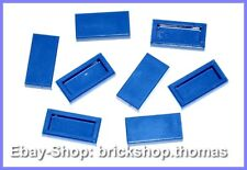 Lego 8 x Tiles Blue (1 x 2) - 3069b - Tile Blue with Groove - New / New
