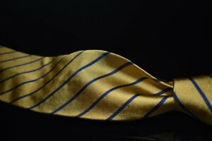 NWT Brooks Brothers Made in NY English Silk Brass Yellow Navy Single Repp Tie NR