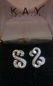 Jane Seymour  Open Hearts Sterling Silver Diamond Accent Stud Post Earrings