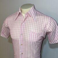 Vtg 60s 70s KMART Knit Dress Shirt Pink Plaid Print Disco Big Collar MENS 15.5