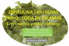 ESPIRULINA Escamas 14% +Algas Enriquecida Comida acuario peces, gambas, tortugas