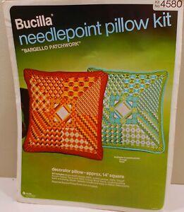 "NIP Vintage Bucilla Needlepoint Kit #4580  BARGELLO PATCHWORK Pillow 14""x14"""