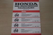 166836) Honda Mokick Mofa Mordellprogramm - Preisliste - Prospekt 01/1978