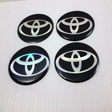 "4X ""TOYOTA"" 45 mm Black Resin Wheel Center Caps Logo Decal Emblem Stickers"