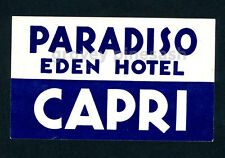 Rare Vintage Paradiso Eden Hotel Capri Italy Luggage Decal Sticker Label Isle of